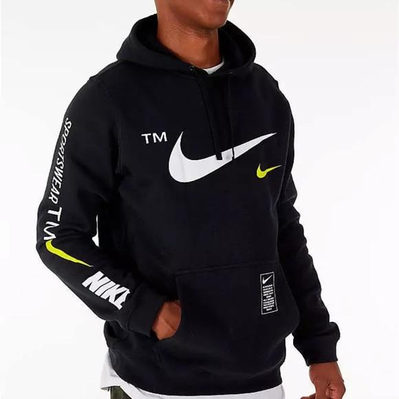 NWT Men/'s Nike Sportswear Club Logo Pullover Hoodie Dark Gray Heather